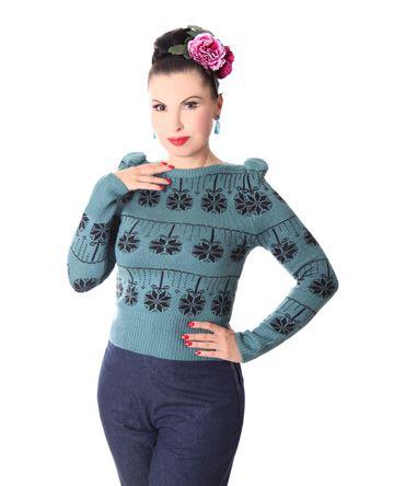 40er retro Melika Christmas Strick Pullover Jumper Weihnachtspulli v. SugarShock – Bild 3