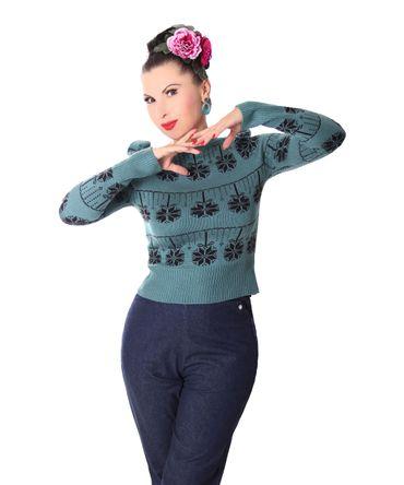 40er retro Melika Christmas Strick Pullover Jumper Weihnachtspulli v. SugarShock – Bild 5