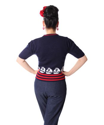 50er retro Mirlinda Sailor Ship Strick Shirt Pullover Jumper Strickpulli v. SugarShock – Bild 4