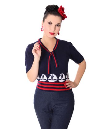 50er retro Mirlinda Sailor Ship Strick Shirt Pullover Jumper Strickpulli v. SugarShock – Bild 1