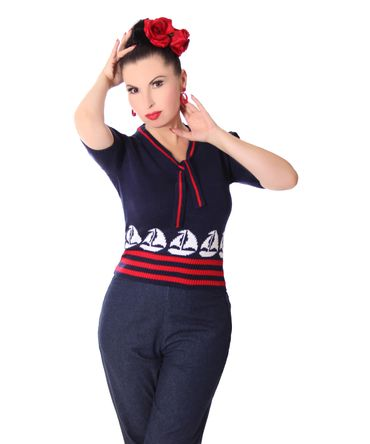 50er retro Mirlinda Sailor Ship Strick Shirt Pullover Jumper Strickpulli v. SugarShock – Bild 2