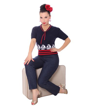 50er retro Mirlinda Sailor Ship Strick Shirt Pullover Jumper Strickpulli v. SugarShock – Bild 5