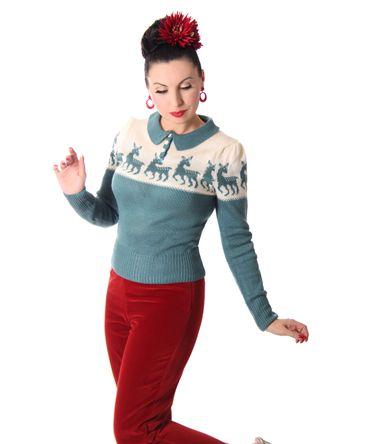 50er retro Dorisa Deer Strick Shirt Pullover Jumper Strickpulli v. SugarShock – Bild 11