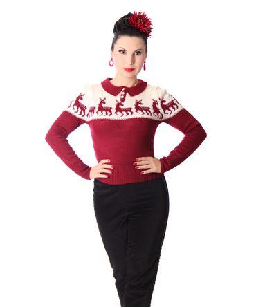 50er retro Dorisa Deer Strick Shirt Pullover Jumper Strickpulli v. SugarShock – Bild 4