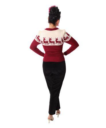 50er retro Dorisa Deer Strick Shirt Pullover Jumper Strickpulli v. SugarShock – Bild 8
