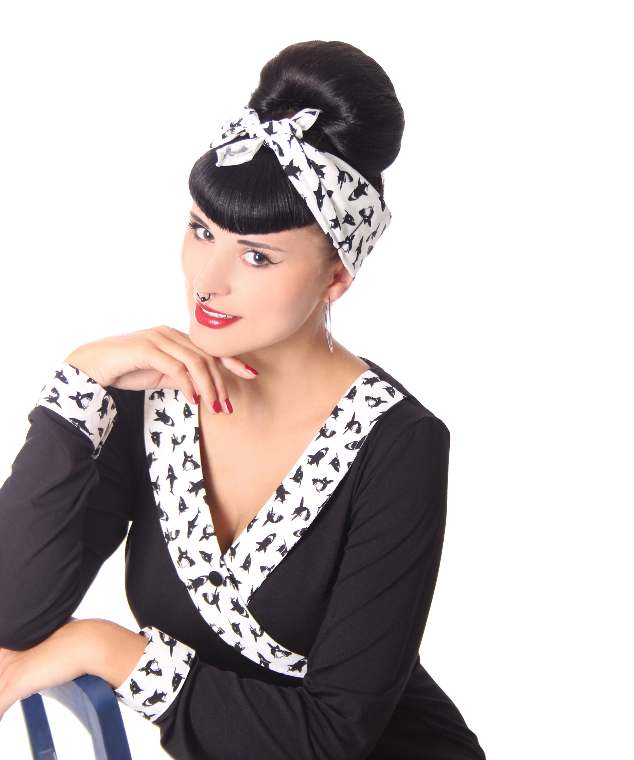 50s frisuren haifisch retro nickituch hairband haar tuch bandana v sugarshock accessoires. Black Bedroom Furniture Sets. Home Design Ideas
