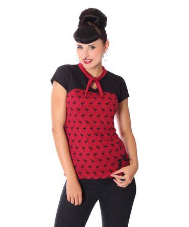 Halisa 50s retro Flamingo Stehkragen Keyhole T-Shirt v. SugarShock – Bild 4