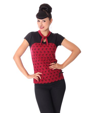 Halisa 50s retro Flamingo Stehkragen Keyhole T-Shirt v. SugarShock – Bild 2