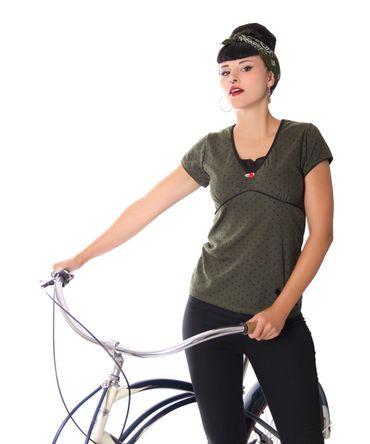 Eline 50s retro Polka Dots V-Neck T-Shirt mit Spitzeneinsatz v. SugarShock – Bild 6