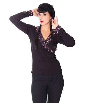 Ranya Flamingo retro  Rockabilly V-Neck Longsleeve v. SugarShock – Bild 1