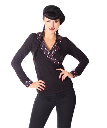 Ranya Flamingo retro  Rockabilly V-Neck Longsleeve v. SugarShock – Bild 4