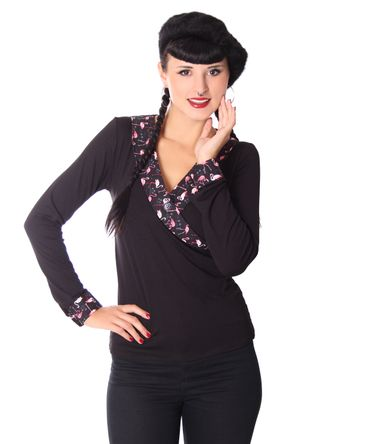 Ranya Flamingo retro  Rockabilly V-Neck Longsleeve v. SugarShock – Bild 3