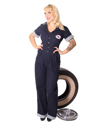 Amaira 50er retro Jeans Denim Overall Pin Up Jumpsuit v. SugarShock – Bild 2
