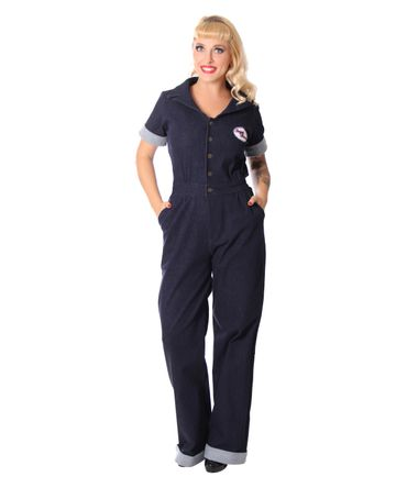 Amaira 50er retro Jeans Denim Overall Pin Up Jumpsuit v. SugarShock – Bild 1