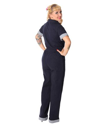 Amaira 50er retro Jeans Denim Overall Pin Up Jumpsuit v. SugarShock – Bild 6