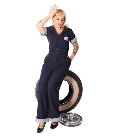 Amaira 50er retro Jeans Denim Overall Pin Up Jumpsuit v. SugarShock – Bild 8