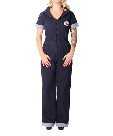 Amaira 50er retro Jeans Denim Overall Pin Up Jumpsuit v. SugarShock – Bild 5
