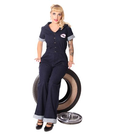 Amaira 50er retro Jeans Denim Overall Pin Up Jumpsuit v. SugarShock – Bild 3