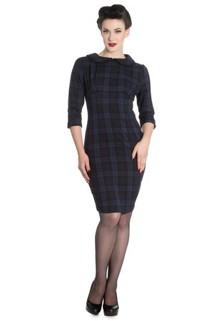 50er Jahre Tartan retro Pencil 3/4 Arm Kleid v. Hell Bunny