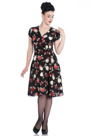 50er Jahre Rosen Flower Petticoat V-Neck Kleid von Hell Bunny – Bild 1