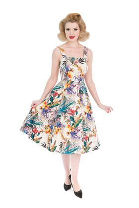 Tropical Hawaii Flower Swing Petticoat Kleid v. Hearts & Roses – Bild 1
