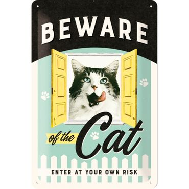 Nostalgic Art Beware of the Cat retro Katzen Blechschild