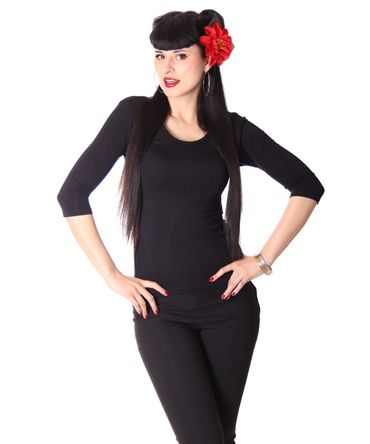 Liora 50s retro Pin Up Longsleeve uni  – Bild 2