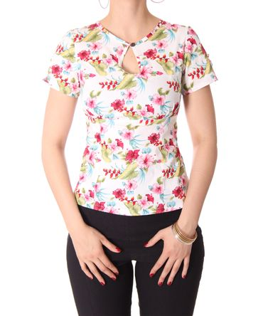 Nevenka Hawaii Flower 50s retro Keyhole Shirt Bluse v. SugarShock – Bild 12