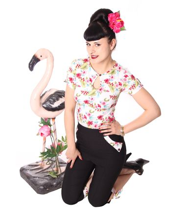 Nevenka Hawaii Flower 50s retro Keyhole Shirt Bluse v. SugarShock – Bild 14