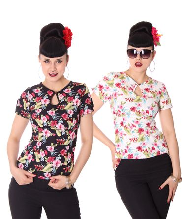 Nevenka Hawaii Flower 50s retro Keyhole Shirt Bluse v. SugarShock