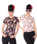 Nevenka Hawaii Flower 50s retro Keyhole Shirt Bluse v. SugarShock 001