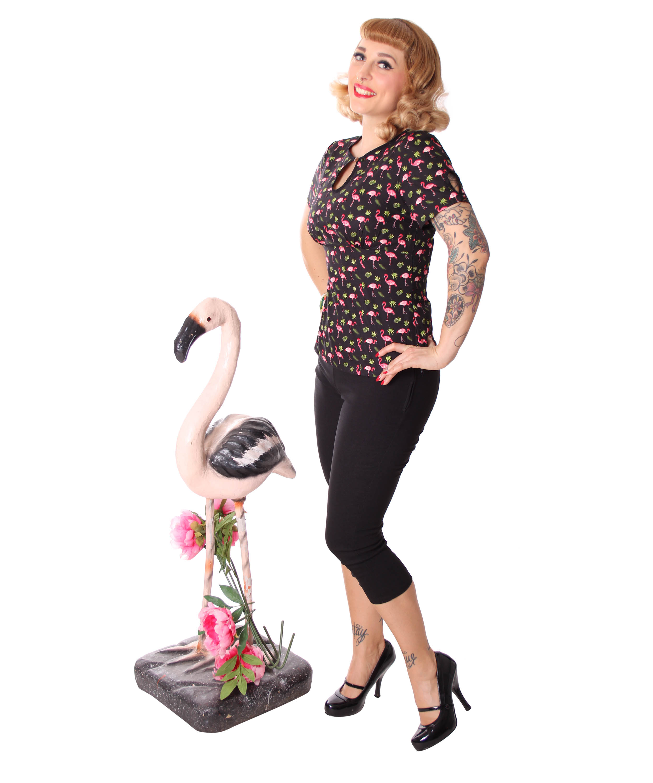 6ea5bdde0a875d Nevenka Flamingo 50s retro Keyhole Shirt Bluse v. SugarShock Frauen ...