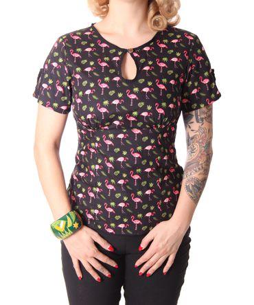 Nevenka Flamingo 50s retro Keyhole Shirt Bluse v. SugarShock – Bild 3