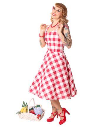 Zoja 50er retro Gingham Picknick Latzkleid Petticoat Kleid v. SugarShock – Bild 3