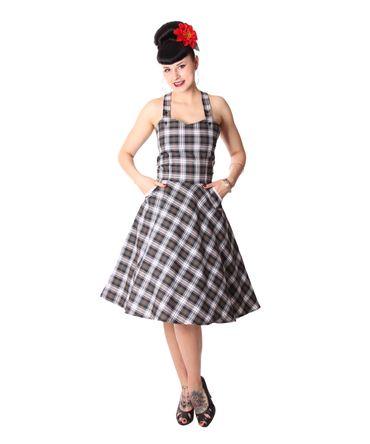 Zoja 50er retro Tartan Träger Latzkleid Petticoat Kleid v. SugarShock – Bild 2