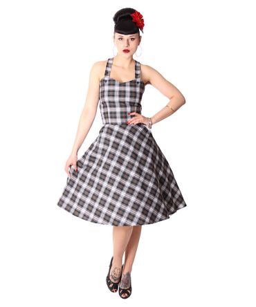 Zoja 50er retro Tartan Träger Latzkleid Petticoat Kleid v. SugarShock – Bild 1