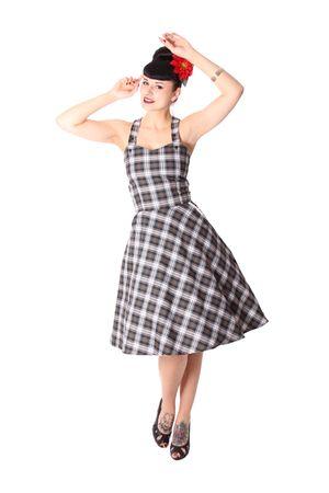 Zoja 50er retro Tartan Träger Latzkleid Petticoat Kleid v. SugarShock – Bild 6