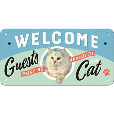 Nostalgic Art Welcome Guests Cat Hängeschild 50s retro Türschild  – Bild 2