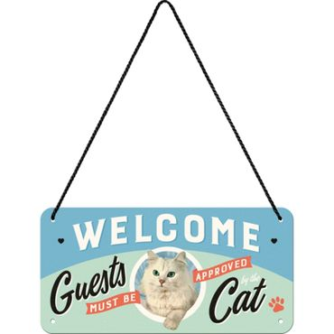 Nostalgic Art Welcome Guests Cat Hängeschild 50s retro Türschild  – Bild 1