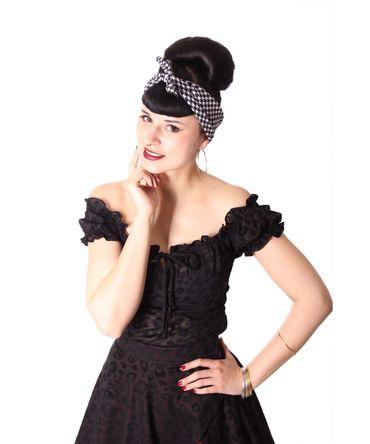 50s Frisuren Pepita retro Nickituch Hairband Haar Tuch Bandana v. SugarShock – Bild 3