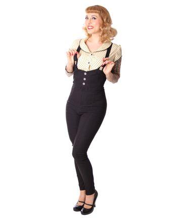 Noraia retro Suspender High Waist Hosenträger Skinny Hose v. SugarShock – Bild 7
