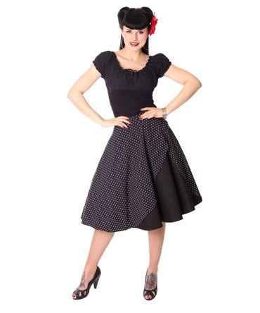 Keslia 50s retro Polka Dots Tellerrock Petticoat Rock 2-lagig v. SugarShock – Bild 6