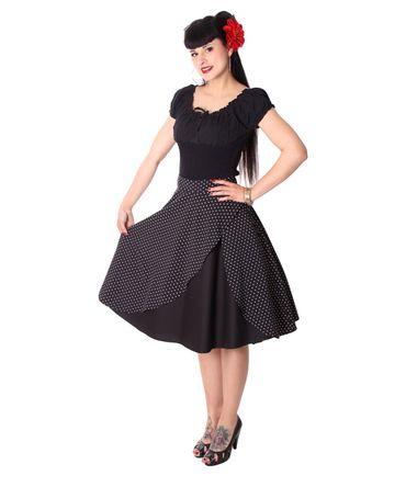 Keslia 50s retro Polka Dots Tellerrock Petticoat Rock 2-lagig v. SugarShock – Bild 1