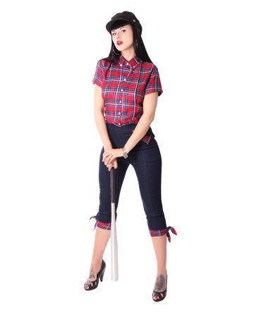 Palia retro style Tartan Bluse Damen Karo Hemd v. SugarShock – Bild 5