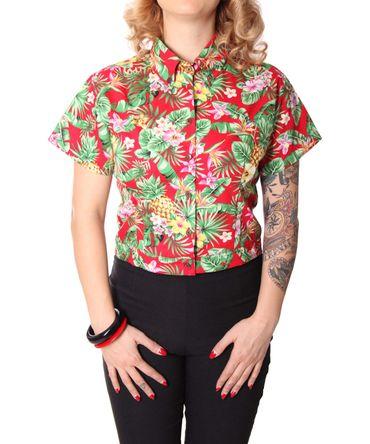 Palia retro style Hawaii Bluse Damen Flower Hemd v. SugarShock – Bild 4