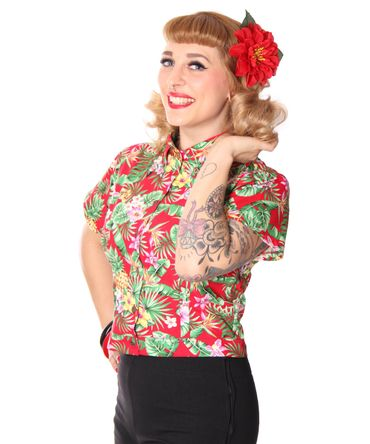 Palia retro style Hawaii Bluse Damen Flower Hemd v. SugarShock