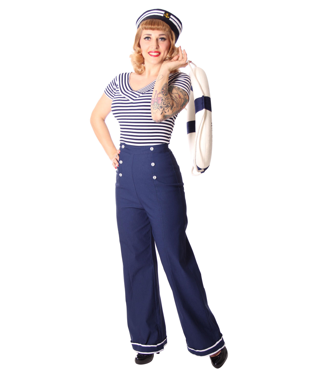b74fa9c8577c3 Putri 40s retro Sailor High Waist Marlene Matrosen Hose v. SugarShock