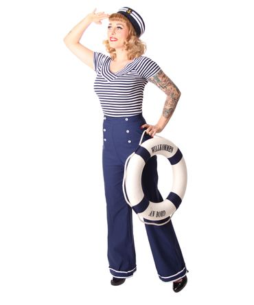Putri 40s retro Sailor High Waist Marlene Matrosen Hose v. SugarShock – Bild 4