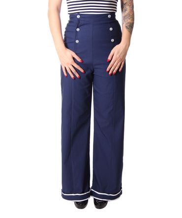Putri 40s retro Sailor High Waist Marlene Matrosen Hose v. SugarShock – Bild 5