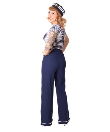 Putri 40s retro Sailor High Waist Marlene Matrosen Hose v. SugarShock – Bild 7